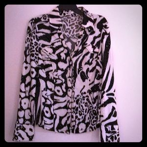 Cache long sleeve black & white top